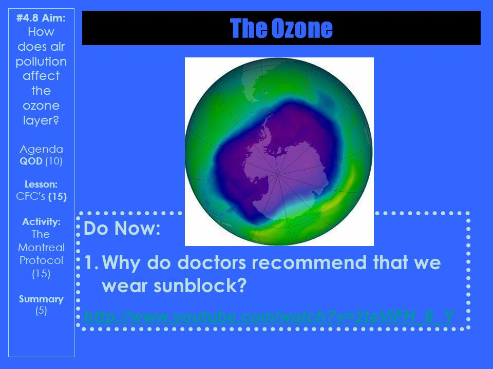 #4.8 Aim: How does air pollution affect the ozone layer? Agenda QOD (10) Lesson: CFCs (15) Activity: The Montreal Protocol (15) Summary (5) Do Now: 1.