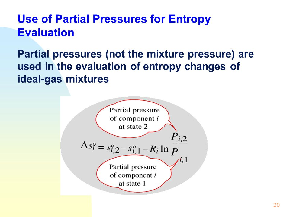20 Use of Partial Pressures for Entropy Evaluation Partial pressures (not the mixture pressure) are used in the evaluation of entropy changes of ideal