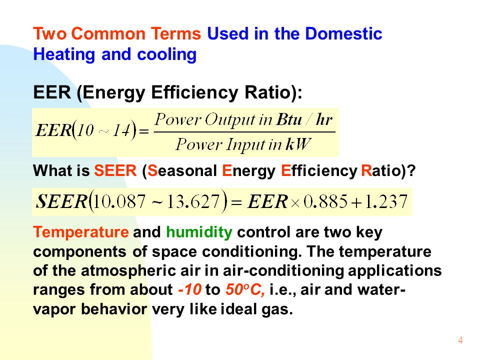 4 EER (Energy Efficiency Ratio): What is SEER (Seasonal Energy Efficiency Ratio)? Temperature and humidity control are two key components of space con