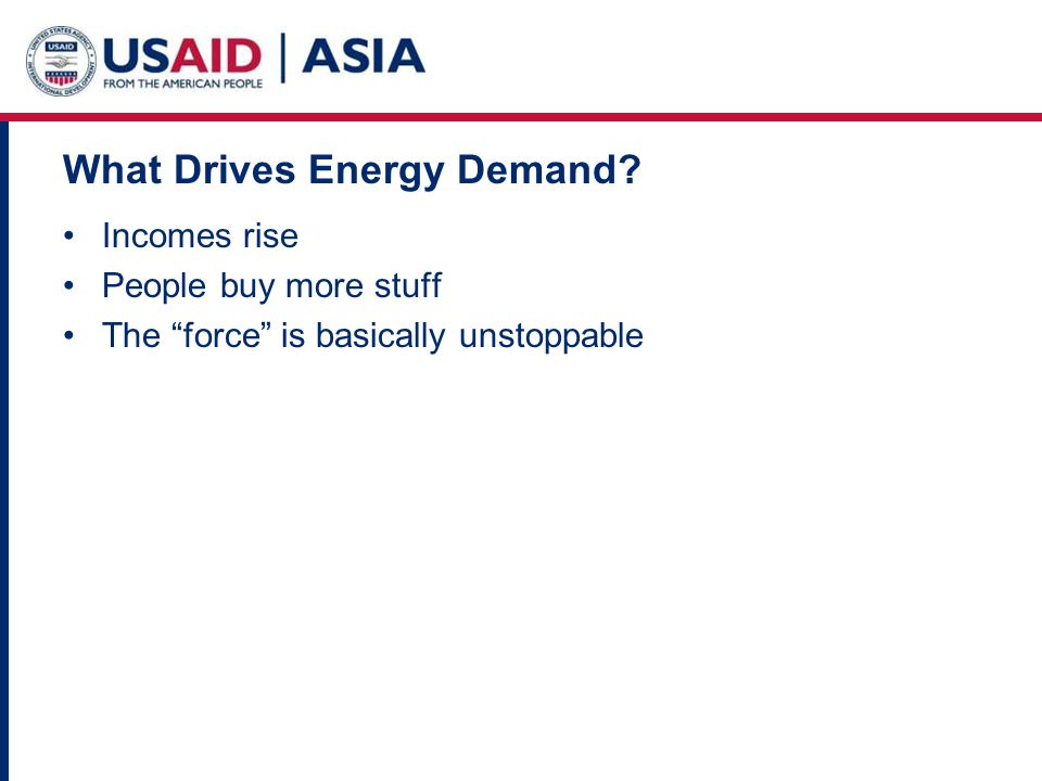 What Drives Energy Demand Incomes rise People buy more stuff The force is basically unstoppable