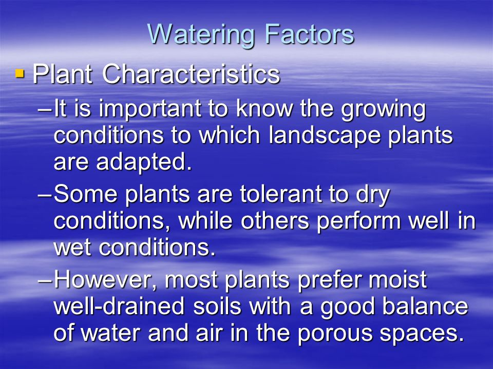 Watering Factors Plant Characteristics Plant Characteristics –It is important to know the growing conditions to which landscape plants are adapted. –S