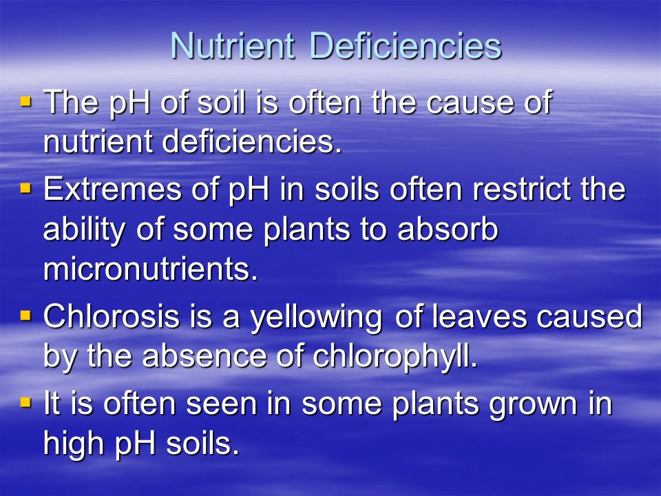 Nutrient Deficiencies The pH of soil is often the cause of nutrient deficiencies. The pH of soil is often the cause of nutrient deficiencies. Extremes