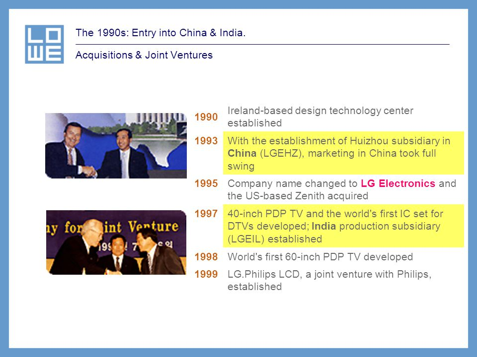 The 1990s: Entry into China & India. Acquisitions & Joint Ventures 1990 Ireland-based design technology center established 1993 With the establishment