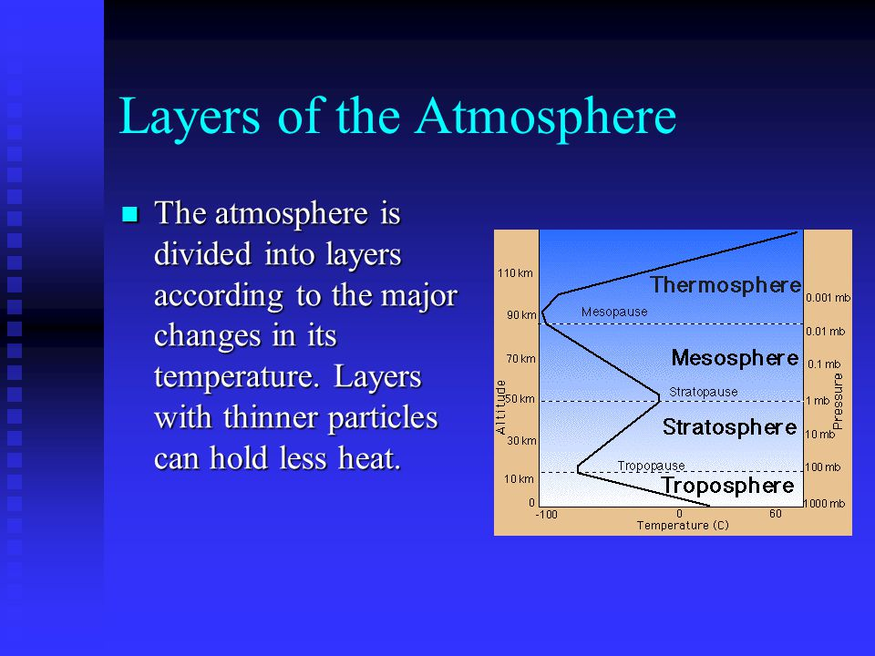 Layers of the Atmosphere The atmosphere is divided into layers according to the major changes in its temperature. Layers with thinner particles can ho