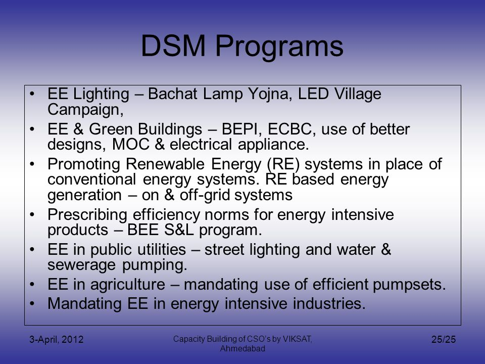 3-April, 2012 Capacity Building of CSOs by VIKSAT, Ahmedabad 25/25 DSM Programs EE Lighting – Bachat Lamp Yojna, LED Village Campaign, EE & Green Buildings – BEPI, ECBC, use of better designs, MOC & electrical appliance.