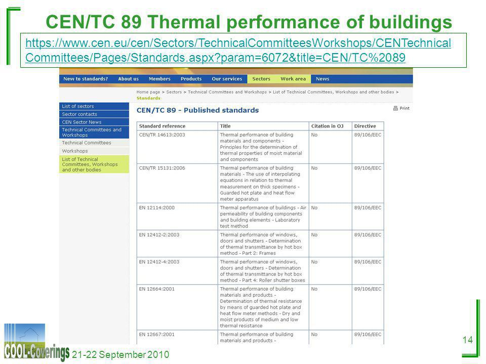 21-22 September 2010 14 CEN/TC 89 Thermal performance of buildings https://www.cen.eu/cen/Sectors/TechnicalCommitteesWorkshops/CENTechnical Committees/Pages/Standards.aspx?param=6072&title=CEN/TC%2089
