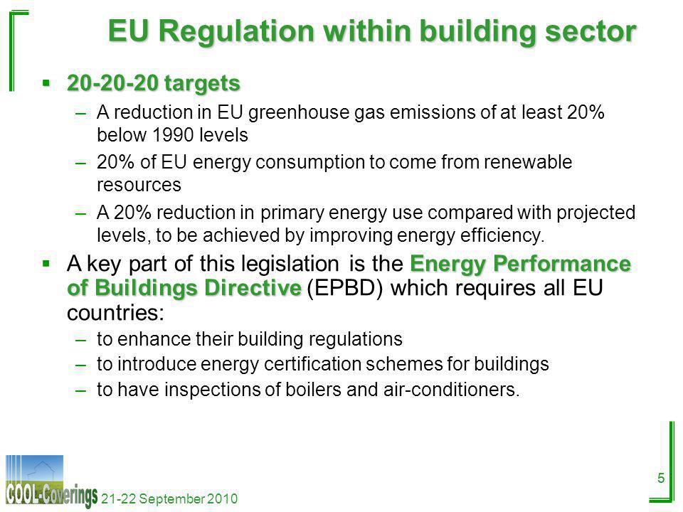 21-22 September 2010 5 EU Regulation within building sector 5 20-20-20 targets 20-20-20 targets –A reduction in EU greenhouse gas emissions of at least 20% below 1990 levels –20% of EU energy consumption to come from renewable resources –A 20% reduction in primary energy use compared with projected levels, to be achieved by improving energy efficiency.
