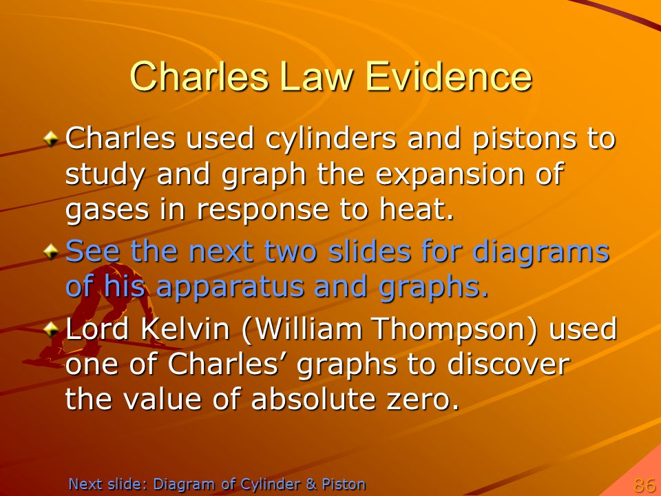 Charles Law Evidence Charles used cylinders and pistons to study and graph the expansion of gases in response to heat. See the next two slides for dia
