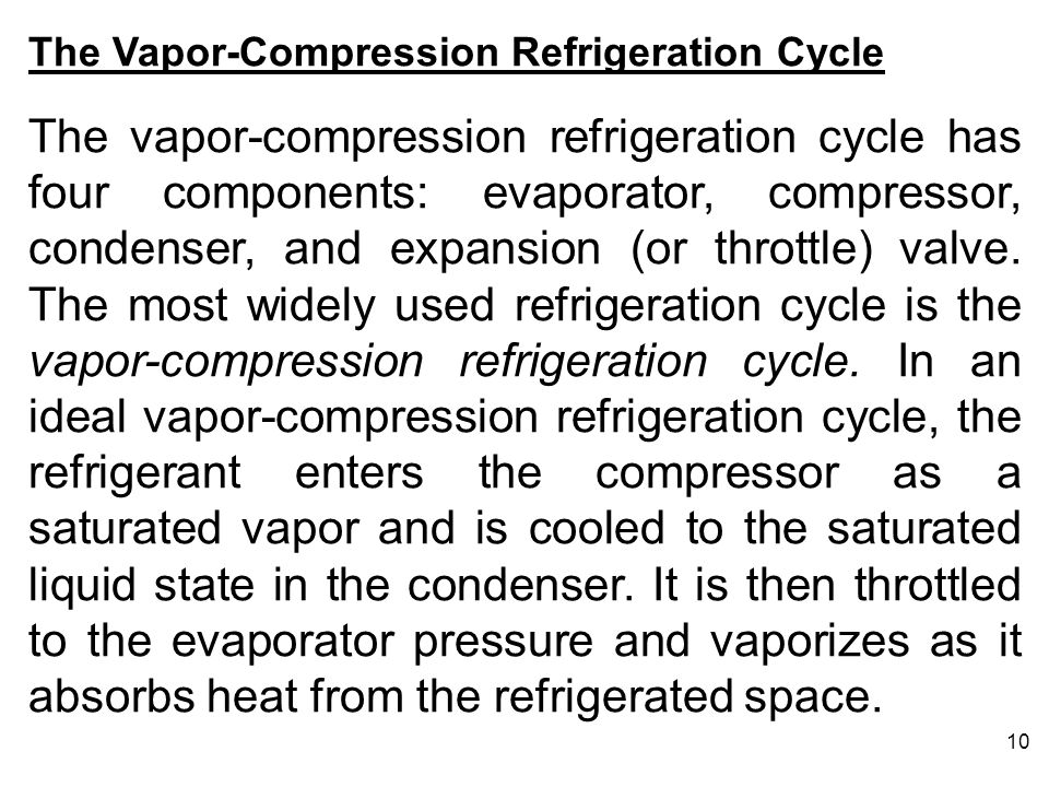 10 The Vapor-Compression Refrigeration Cycle The vapor-compression refrigeration cycle has four components: evaporator, compressor, condenser, and exp