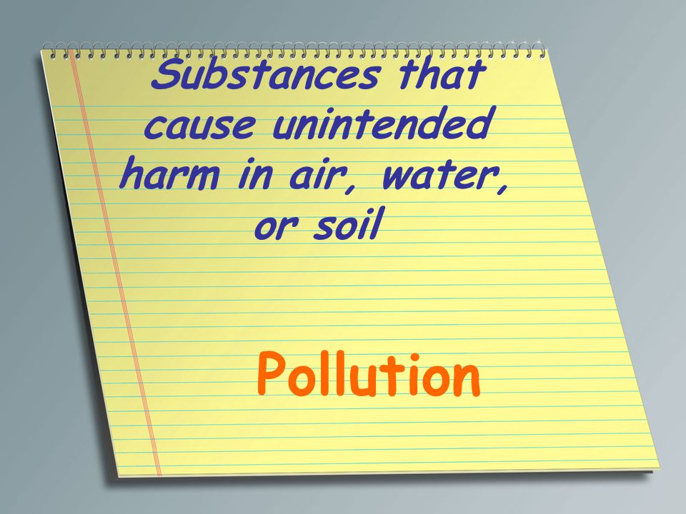 Substances that cause unintended harm in air, water, or soil Pollution