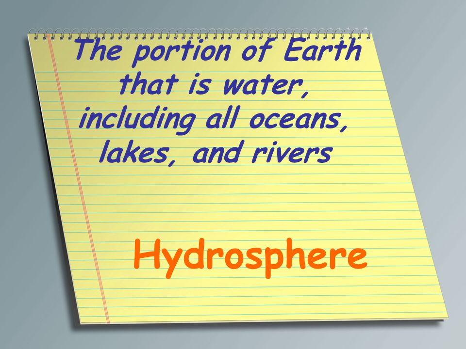 The portion of Earth that is water, including all oceans, lakes, and rivers Hydrosphere
