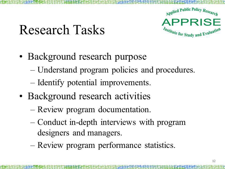 Research Tasks Background research purpose –Understand program policies and procedures.