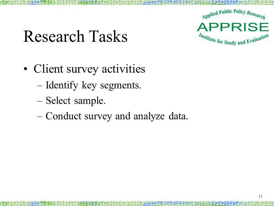 Research Tasks Client survey activities –Identify key segments.