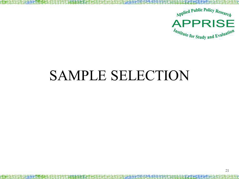 SAMPLE SELECTION 21