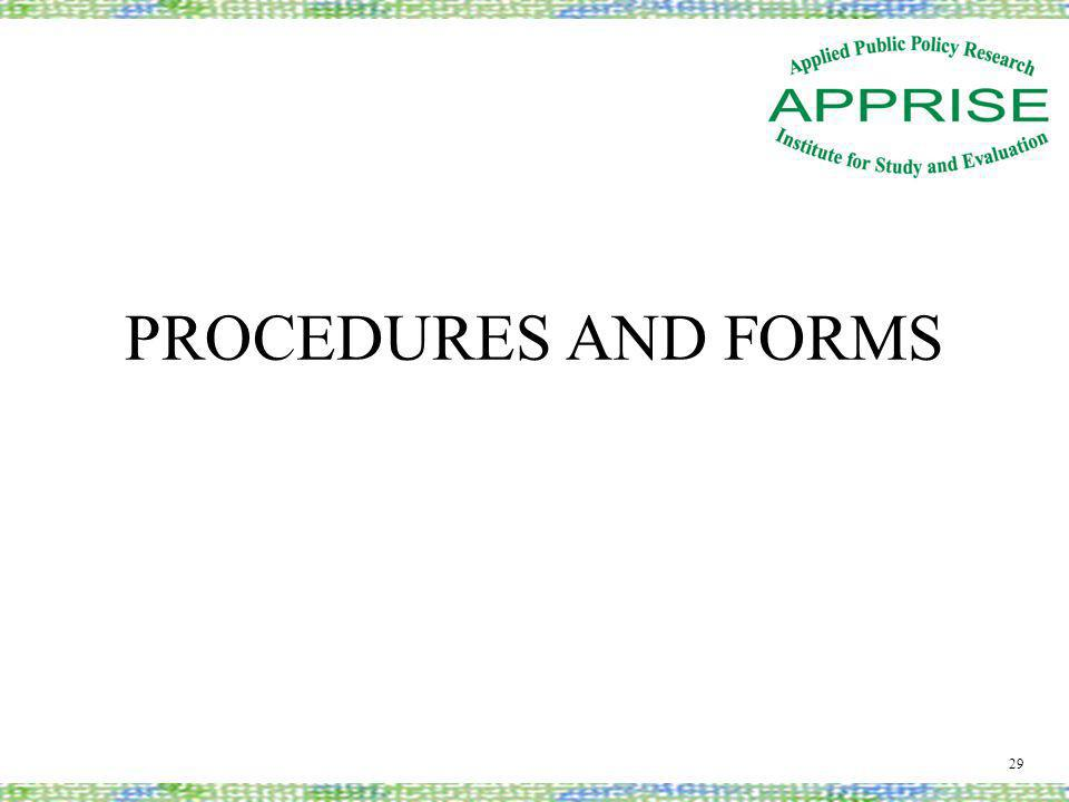 PROCEDURES AND FORMS 29