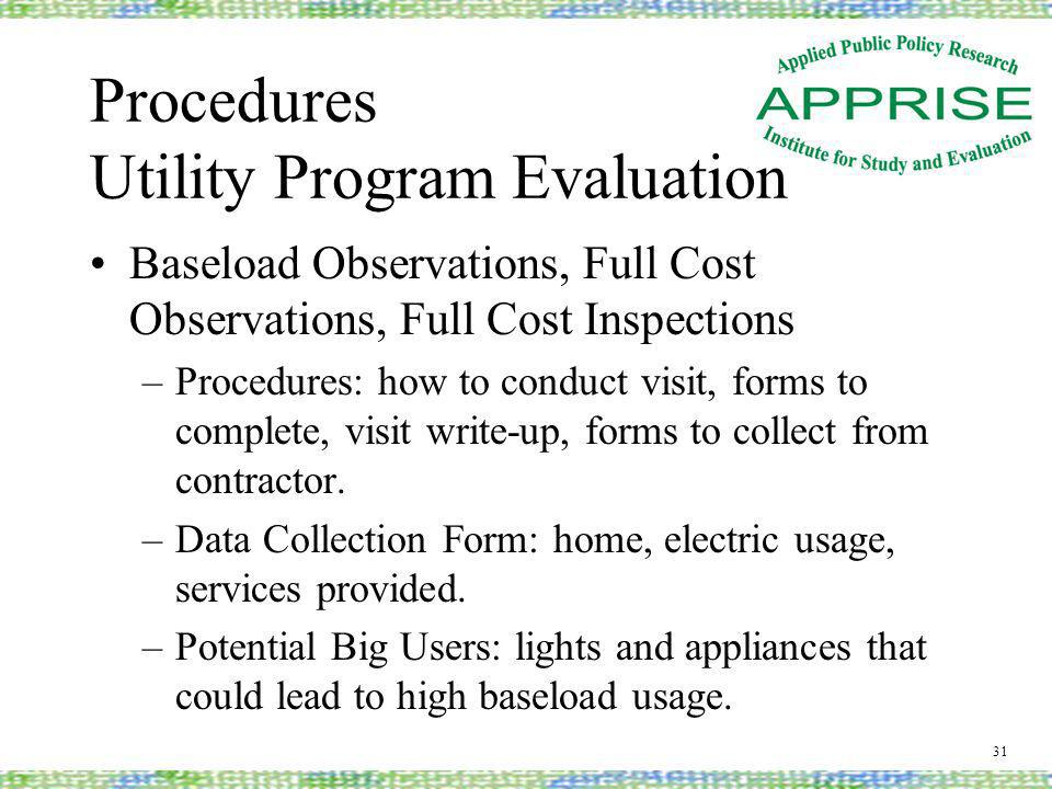 Procedures Utility Program Evaluation Baseload Observations, Full Cost Observations, Full Cost Inspections –Procedures: how to conduct visit, forms to complete, visit write-up, forms to collect from contractor.