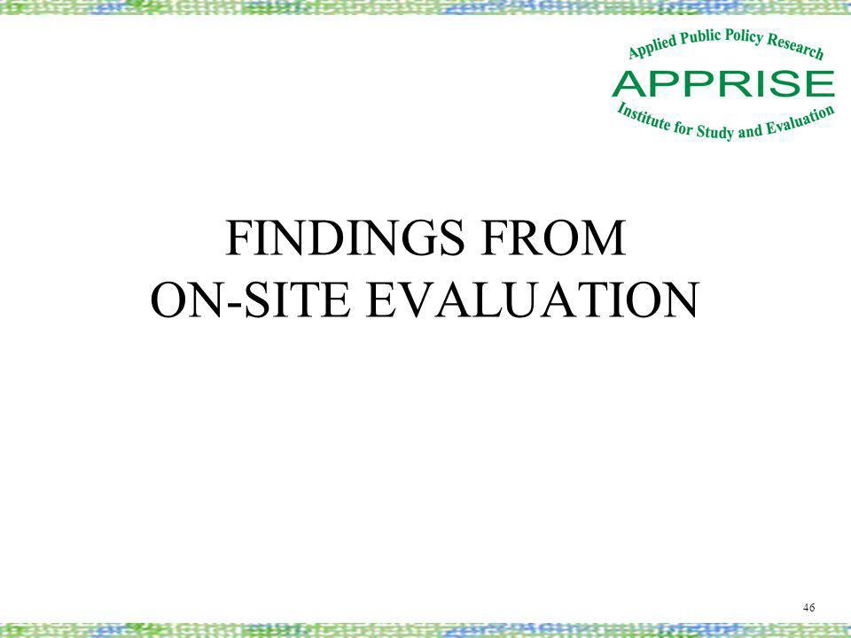 FINDINGS FROM ON-SITE EVALUATION 46