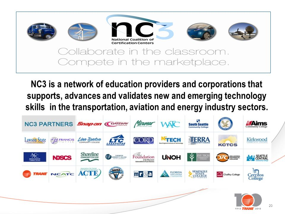 20 NC3 is a network of education providers and corporations that supports, advances and validates new and emerging technology skills in the transporta