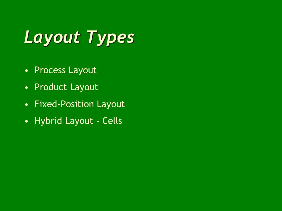 Layout Types Process Layout Product Layout Fixed-Position Layout Hybrid Layout - Cells