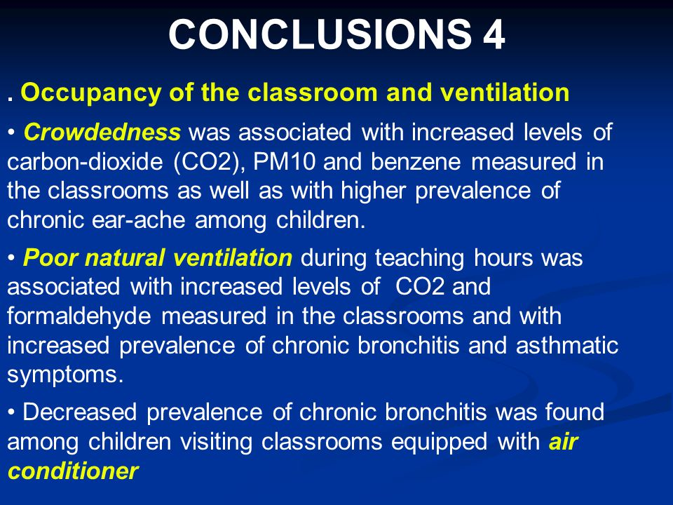 CONCLUSIONS 4. Occupancy of the classroom and ventilation Crowdedness was associated with increased levels of carbon-dioxide (CO2), PM10 and benzene m
