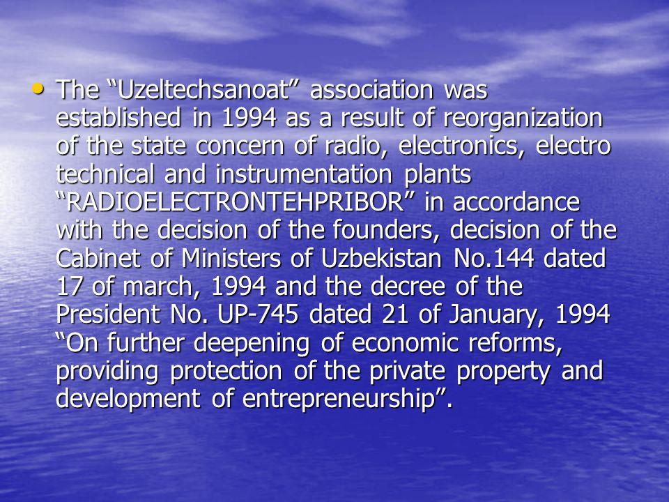 The Uzbekistan association of radio, electronics, electro technical and instrumentation plants Uzeltechsanoat 13, Movaraunnahr str, Tashkent, Uzbekistan, 700047 Tel: (+99871) 1333631,1333628, Fax: (+99871) 1333631