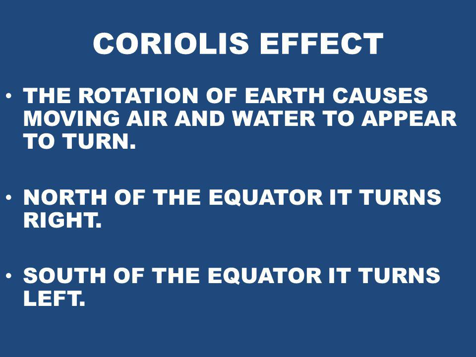 CORIOLIS EFFECT THE ROTATION OF EARTH CAUSES MOVING AIR AND WATER TO APPEAR TO TURN. NORTH OF THE EQUATOR IT TURNS RIGHT. SOUTH OF THE EQUATOR IT TURN