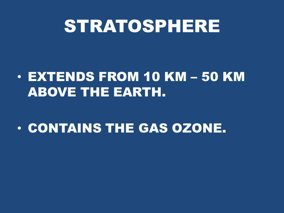 STRATOSPHERE EXTENDS FROM 10 KM – 50 KM ABOVE THE EARTH. CONTAINS THE GAS OZONE.