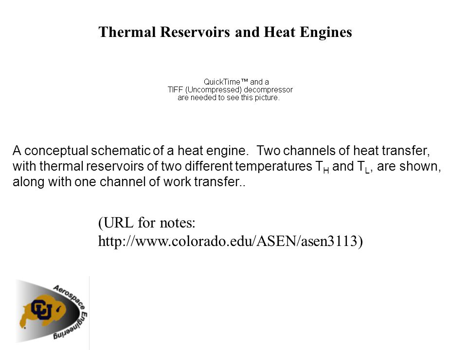 Thermal Reservoirs and Heat Engines A conceptual schematic of a heat engine. Two channels of heat transfer, with thermal reservoirs of two different t