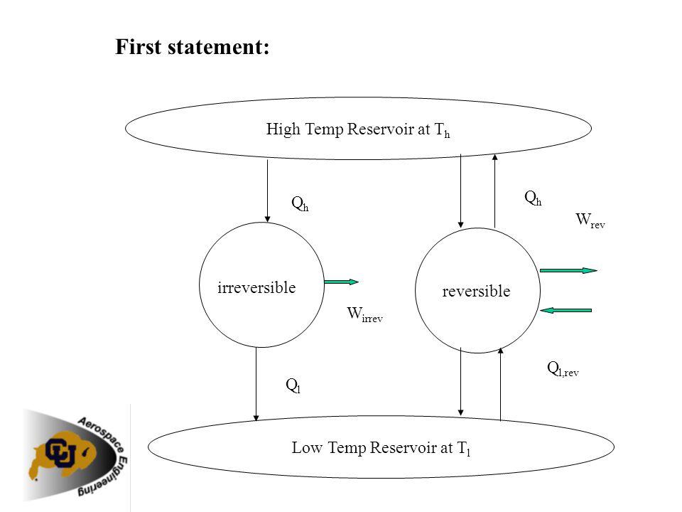 First statement: High Temp Reservoir at T h Low Temp Reservoir at T l reversible irreversible QhQh QlQl W irrev QhQh Q l,rev W rev