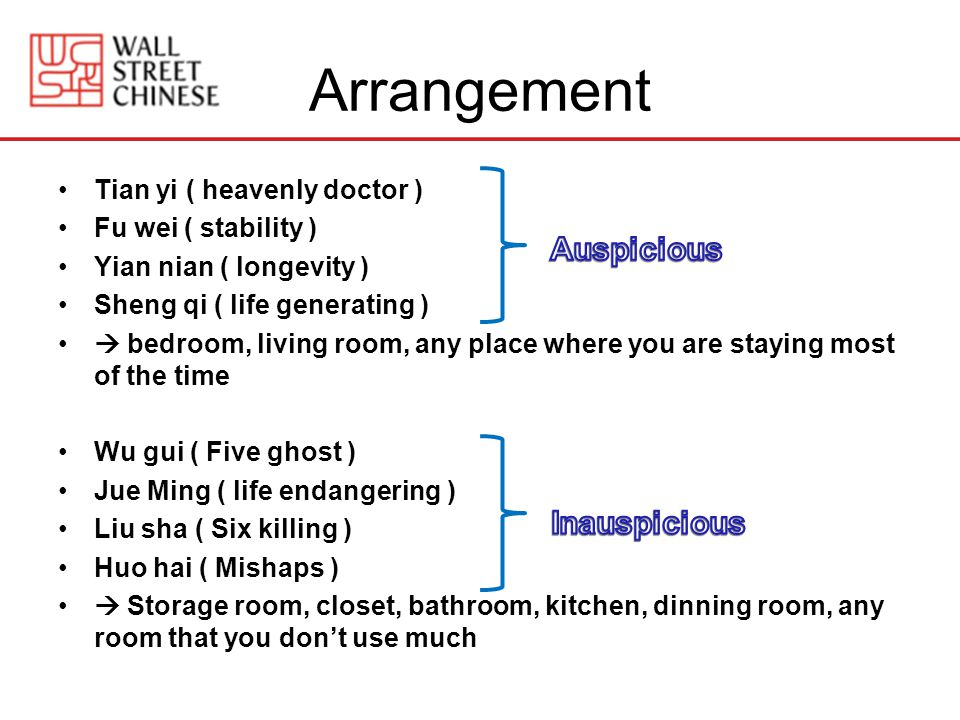 Arrangement Tian yi ( heavenly doctor ) Fu wei ( stability ) Yian nian ( longevity ) Sheng qi ( life generating ) bedroom, living room, any place where you are staying most of the time Wu gui ( Five ghost ) Jue Ming ( life endangering ) Liu sha ( Six killing ) Huo hai ( Mishaps ) Storage room, closet, bathroom, kitchen, dinning room, any room that you dont use much