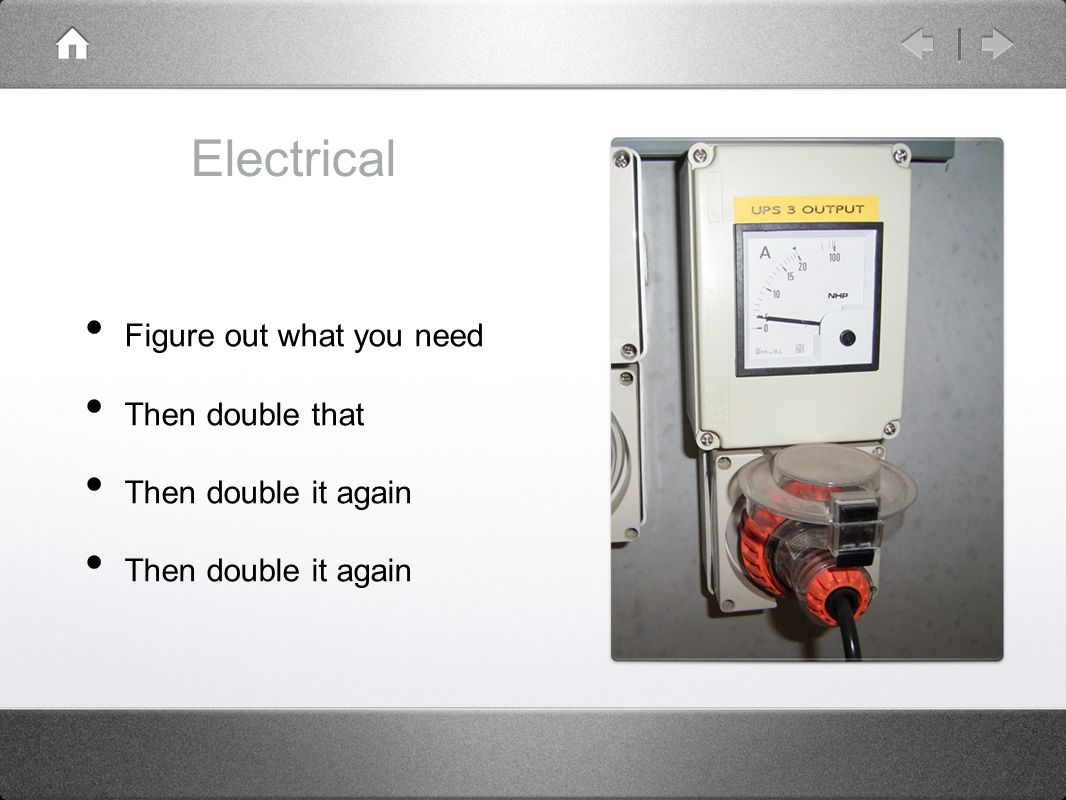 Electrical Figure out what you need Then double that Then double it again