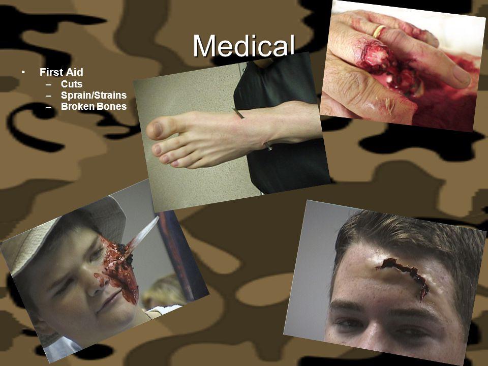 Medical First Aid –Cuts –Sprain/Strains –Broken Bones