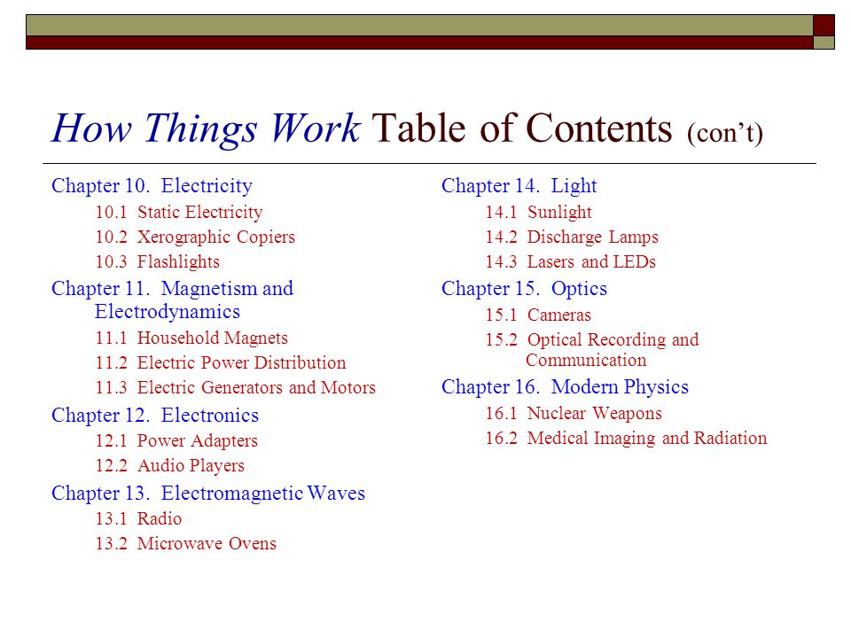 How Things Work Table of Contents (cont) Chapter 10.