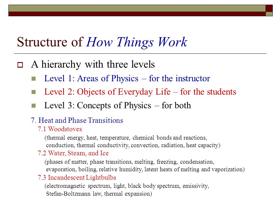 Structure of How Things Work A hierarchy with three levels Level 1: Areas of Physics – for the instructor Level 2: Objects of Everyday Life – for the students Level 3: Concepts of Physics – for both 7.