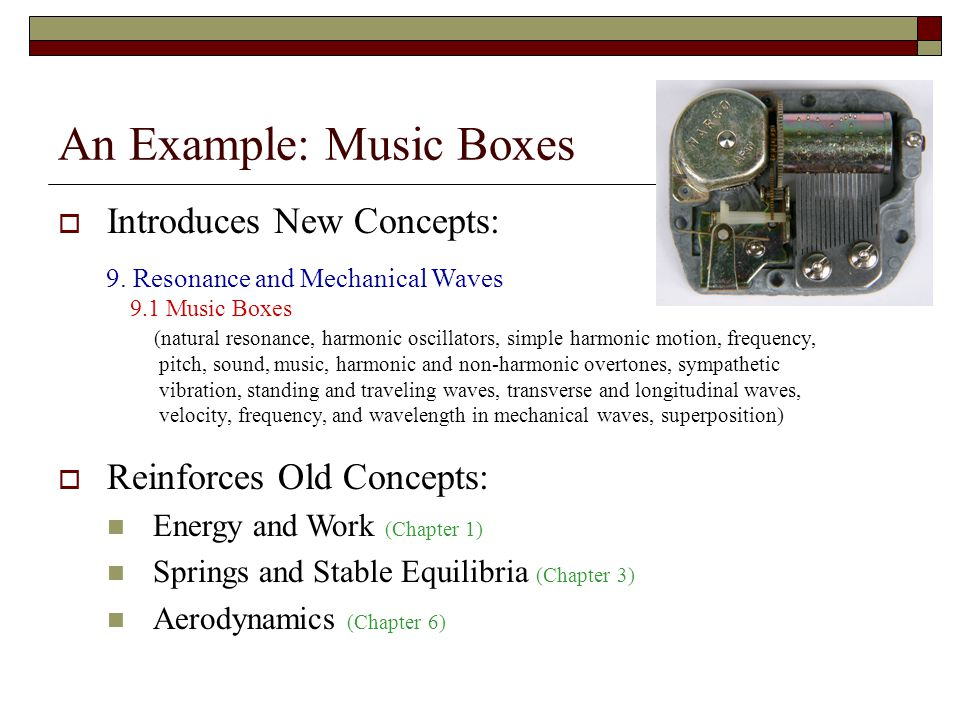 An Example: Music Boxes Introduces New Concepts: 9.