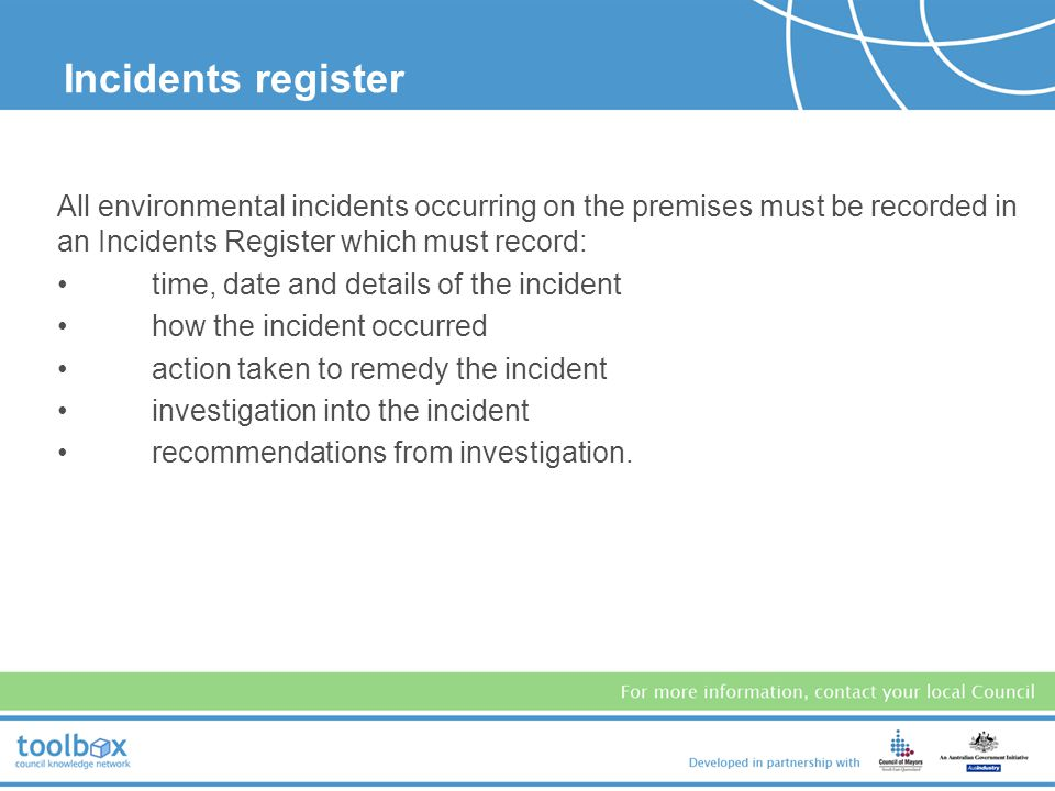 Each workshop is required to document any environmental complaints, including: time, date and nature of complaint how the complaint was made details o