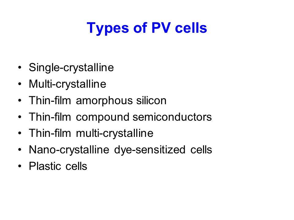 Types of PV cells Single-crystalline Multi-crystalline Thin-film amorphous silicon Thin-film compound semiconductors Thin-film multi-crystalline Nano-