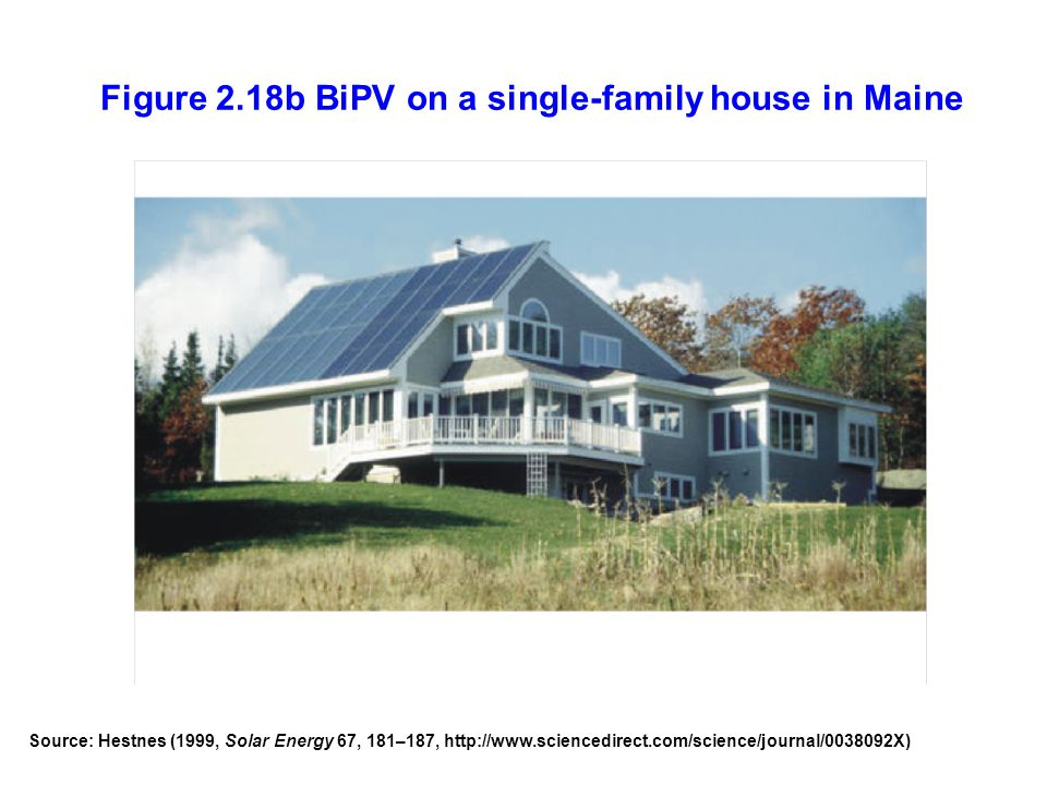 Figure 2.18b BiPV on a single-family house in Maine Source: Hestnes (1999, Solar Energy 67, 181–187, http://www.sciencedirect.com/science/journal/0038