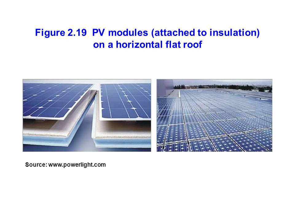 Figure 2.19 PV modules (attached to insulation) on a horizontal flat roof Source: www.powerlight.com