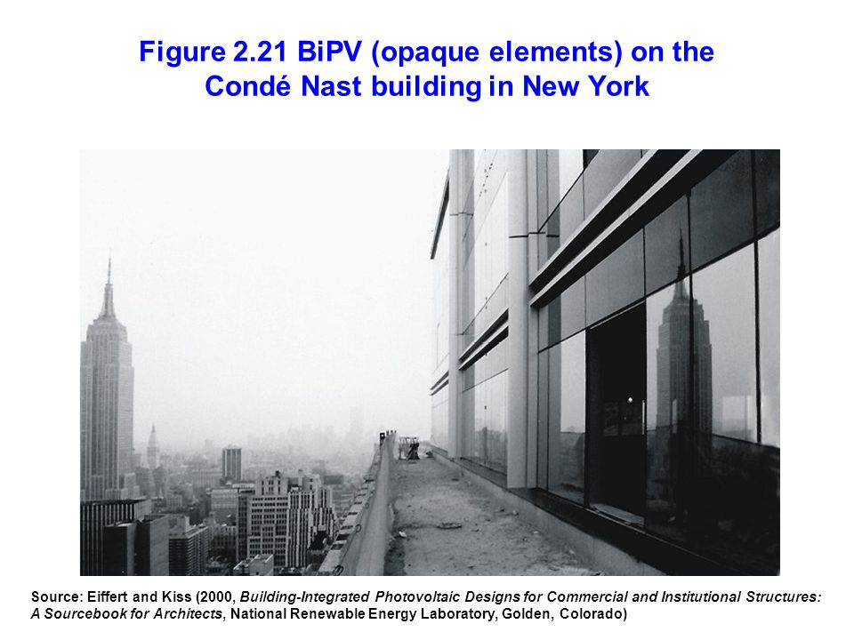 Figure 2.21 BiPV (opaque elements) on the Condé Nast building in New York Source: Eiffert and Kiss (2000, Building-Integrated Photovoltaic Designs for