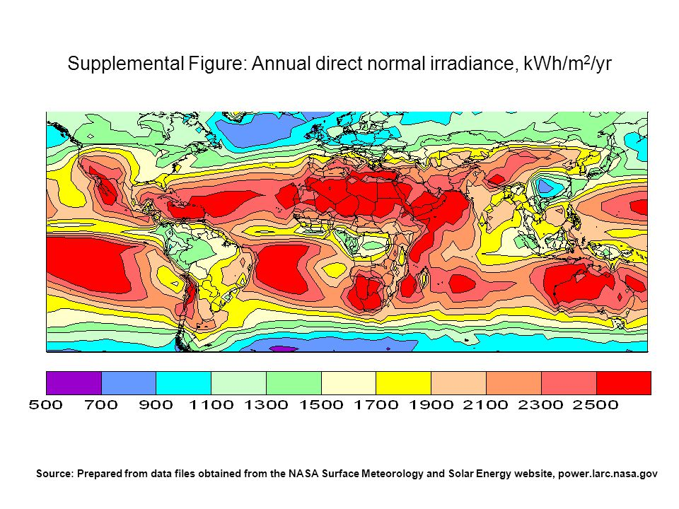 Supplemental Figure: Annual direct normal irradiance, kWh/m 2 /yr Source: Prepared from data files obtained from the NASA Surface Meteorology and Sola