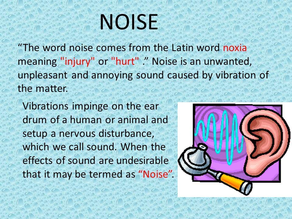 OCCUPATIONAL NOISE The many and varied sources of noise is industrial machinery and processes include: rotors, gears, turbulent fluid flow, impact processes, electrical machines, internal combustion engines, pneumatic equipment, drilling, crushing, blasting, pumps and compressors.