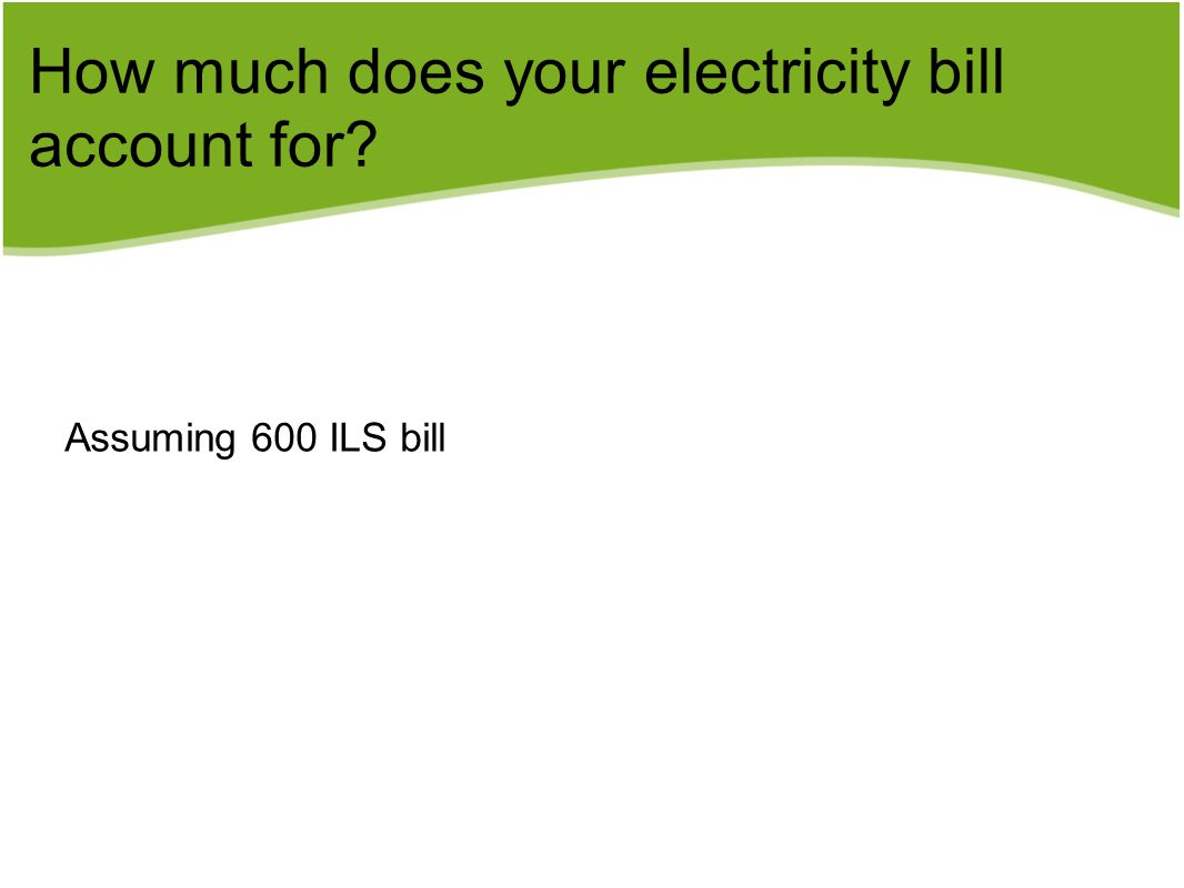 How much does your electricity bill account for? Assuming 600 ILS bill