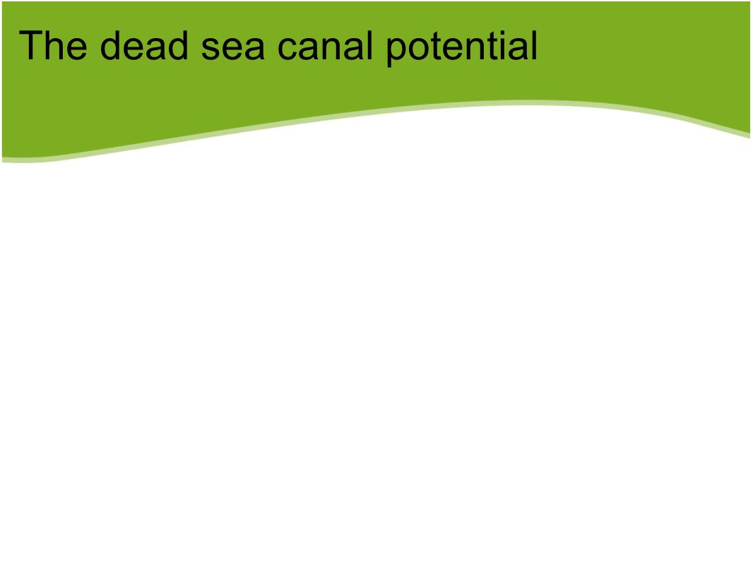 The dead sea canal potential