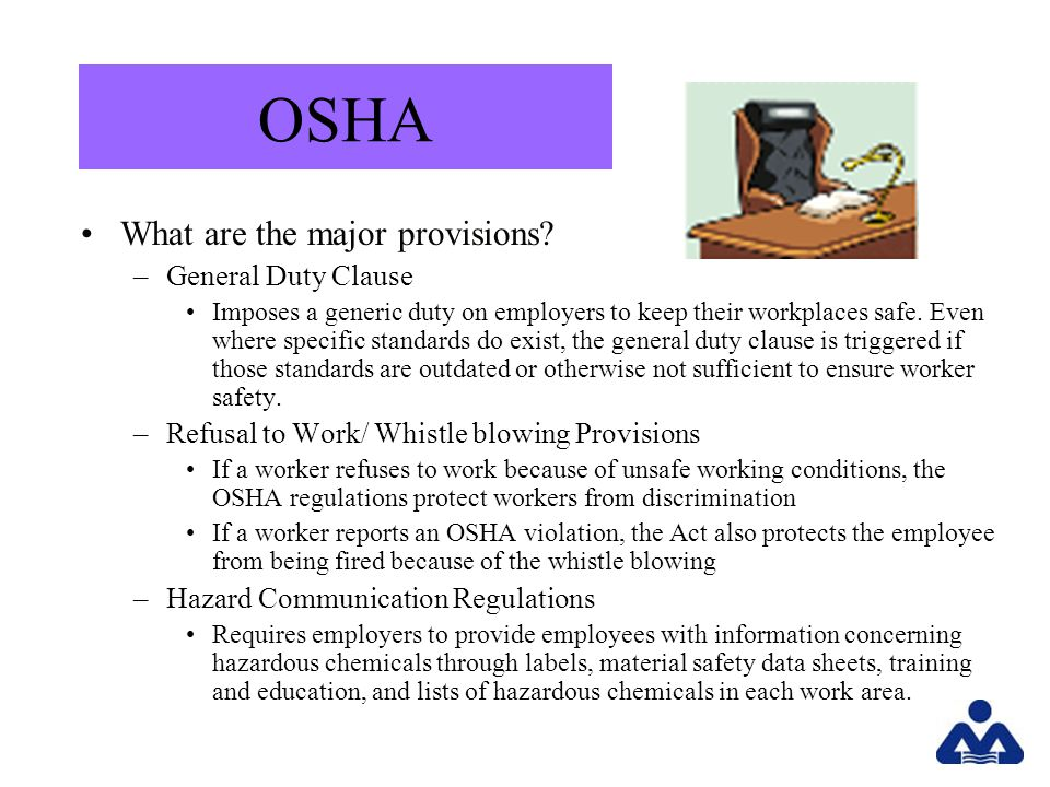 OSHA What are the major provisions.