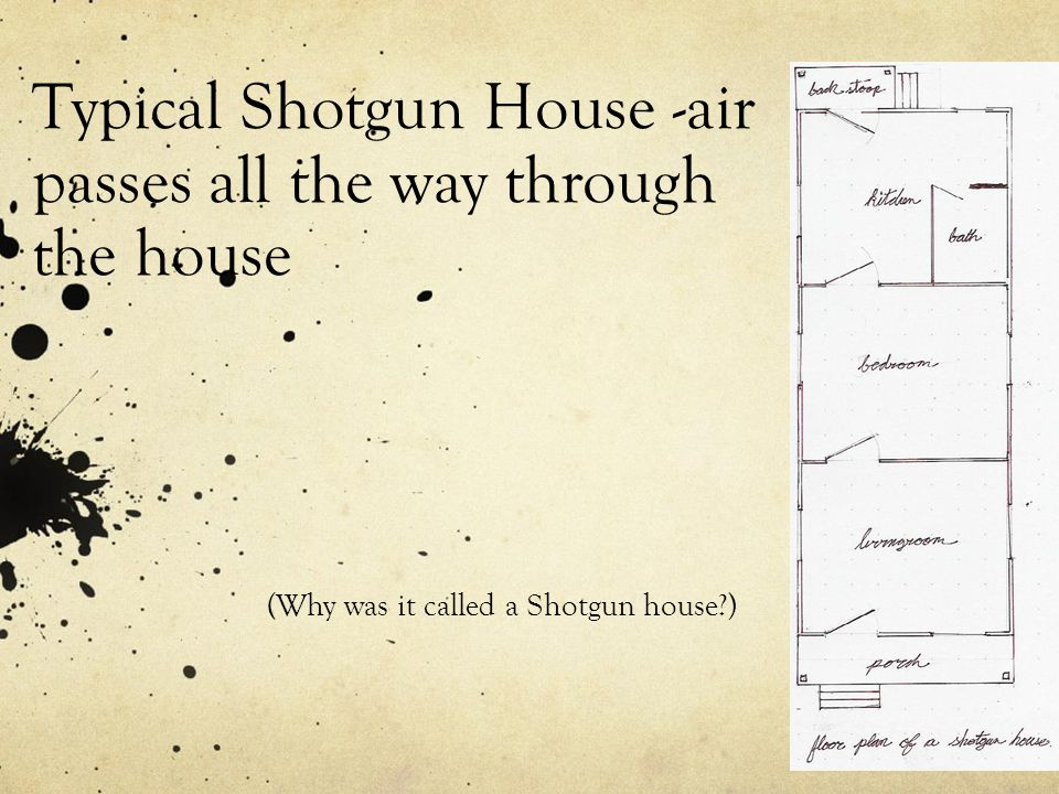 Typical Shotgun House -air passes all the way through the house (Why was it called a Shotgun house?)