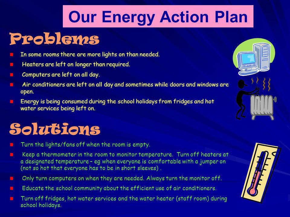 Our Energy Action Plan Problems In some rooms there are more lights on than needed.