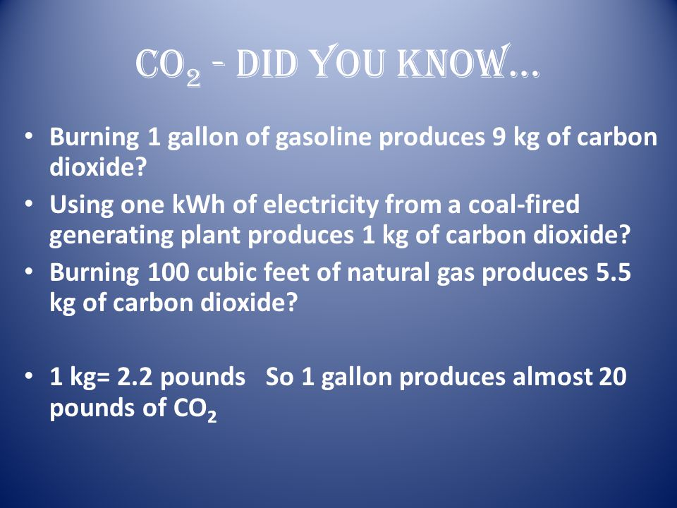 CO 2 - Did you know… Burning 1 gallon of gasoline produces 9 kg of carbon dioxide? Using one kWh of electricity from a coal-fired generating plant pro