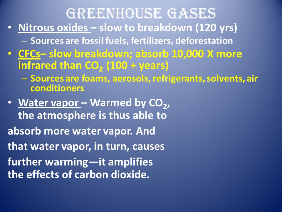 Greenhouse Gases Nitrous oxides – slow to breakdown (120 yrs) – Sources are fossil fuels, fertilizers, deforestation CFCs– slow breakdown; absorb 10,0