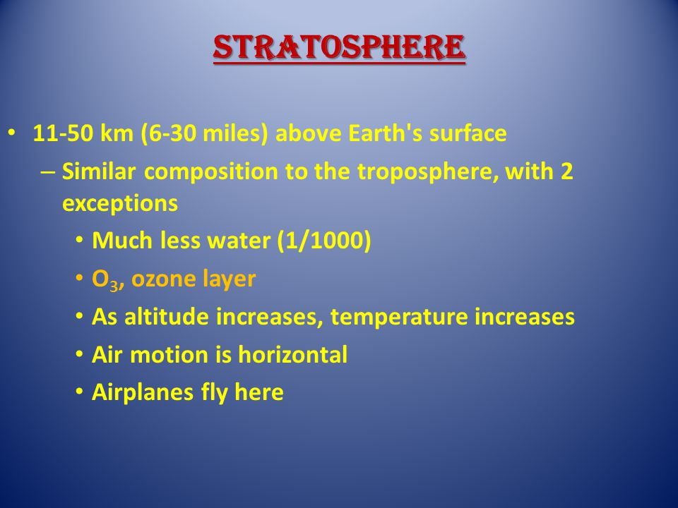 Stratosphere 11-50 km (6-30 miles) above Earth's surface – Similar composition to the troposphere, with 2 exceptions Much less water (1/1000) O 3, ozo